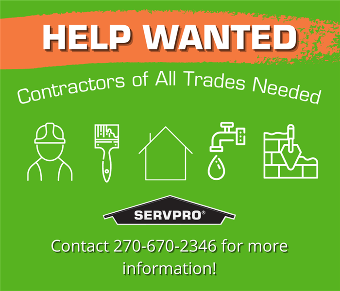 """HELP WANTED"" at top of photo under a paint brush of orange with a green background. Below are symbols of trade jobs"